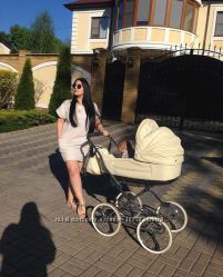 Детская белая коляска 2 в 1 Roan Marita Prestige с большими колёсами