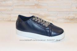Слипоны женские синие на шнурках Т969