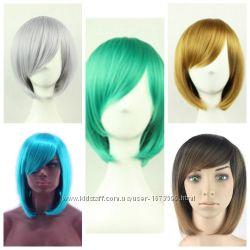 парик каре белый черный коричневый розовый голубой зеленый красный блонд