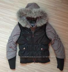 Классная зимняя куртка с жилеткой в идеальном состоянии