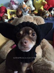 Вязаные шапки для собак . Шапки для собак с закрытыми ушками .