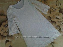 Платье белоснежное кружево. H&M. не светится. Цветочный гипюр нежная трикот