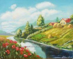 Картина маслом пейзаж Родная деревенька