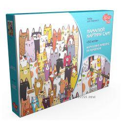 Набор, техника акриловая живопись по номерам, 50 котов