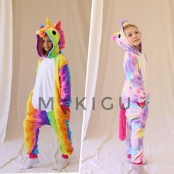 Кигуруми пижама детская единорог радужный и звёздный