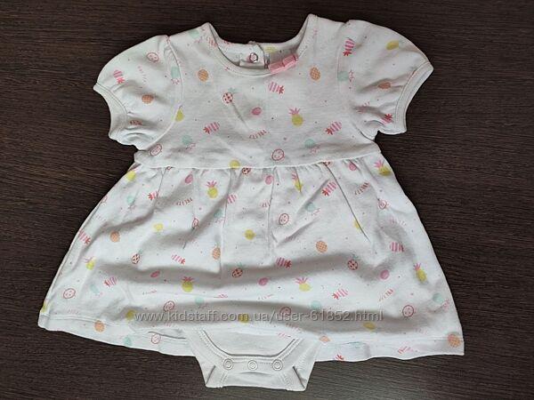 Бодик-платье для девочки 0-3 мес.