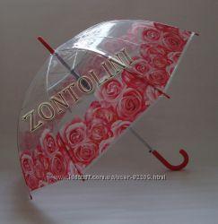 Прозрачный женский зонт с обычным куполом