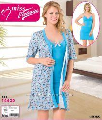 Шикарный комплект халат с ночной рубашкой Miss Victoria