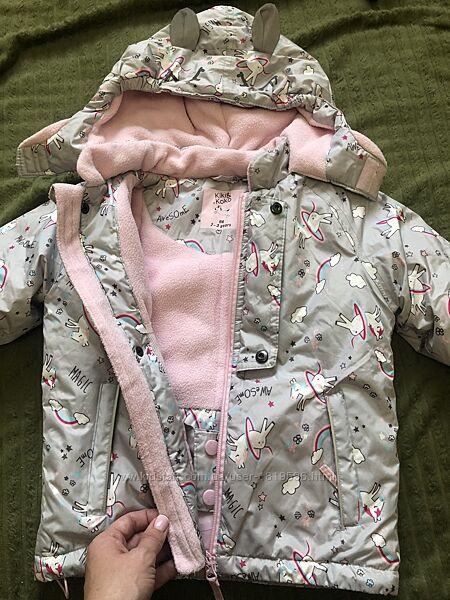 Зимняя термокуртка для девочки 2-3года