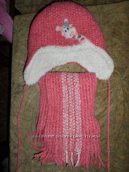 зимняя шапочка и шарфик набор 12-18 месяцев