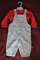 Новый комплект F&F TESCO Англия 80р 9-12мес светлый полостаый мягкий джинс