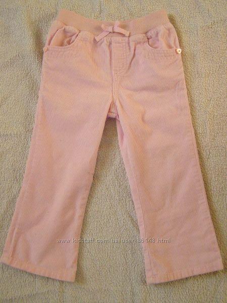 Розовые вельветовые штанишки на 2-3 года, рост 98.