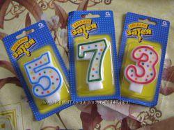 Свечи цифры в тортики