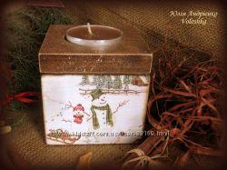подсвечник- короб для хранения свечек- таблеток Зимняя сказка
